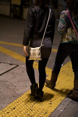 (sobri) Tags: street japan night walking tokyo cool legs boots shibuya style skirt    hangbag