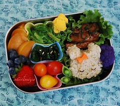 Honey Garlic Pork Bento (sherimiya ) Tags: school cute bunny fruits kids lunch kid healthy strawberry pretty tomatoes sheri plum fresh pork homemade honey onigiri meal garlic bento spinach blueberries shiso obento peapods purplecauliflower yellowcauliflower oceansalad sherimiya