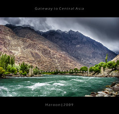 Gateway to cenetral asia - HDR (Haroon Mustafa) Tags: bridge trees pakistan sky plants green clouds photoshop river rocks stones details greens bushes dri hdr islamabad lightroom gilgit phunder heavyclouds phander gazar lovepakistan yellowyellows gupis sonyw90 gatewaytocenteralasia ghazar