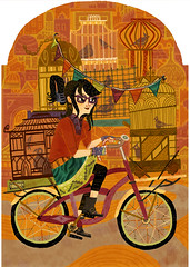 Miss Eva Tong and her Avian Bicycle Delivery Service! (hellomeghunt) Tags: city houses birds bike bicycle glasses wooden boots illo birdcages prettylady pennants
