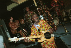 Mac Tontoh Project from Ghana at the Africa Centre London July 2001 053 group (photographer695) Tags: world africa from 2001 music london mac african centre band july jazz ghana warriors ashanti kete trumpeter amanas osibisa tontoh nanaeba exosibisa