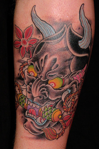 Oni Mask tattoo done at Avalon