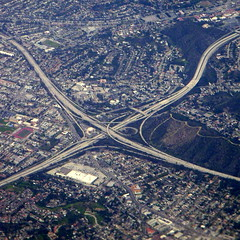 LAX X (kexi) Tags: california city usa america square la flying losangeles nikon highway crossing view cross traffic x aerial coolpix highways lax february simple crossroads 2010 windowseat instantfave thebestofday
