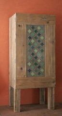 cupboard with patchwork (Factor-Li) Tags: green pattern handmade fabric patchwork cupboard oldwood cathedralwindows