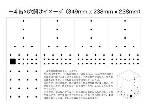 【野焼き陶芸】一斗缶の穴開けイメージ(349mm x 238mm x 238mm)