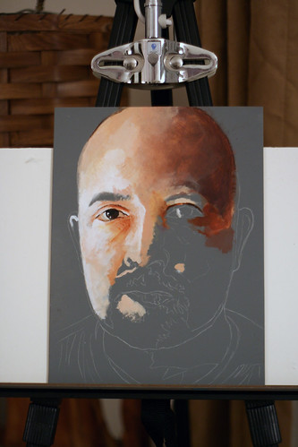 In progress acrylic painting entitled Self Portrait VI