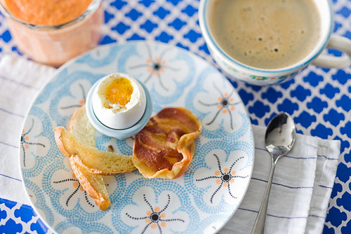 "Soft Boiled Eggs with Toast ""Soldiers"" and Pancetta Chips 3"