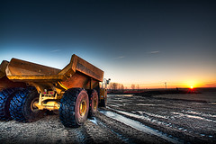 Dawn of a new Era (jrobfoto.com) Tags: sun ice truck sunrise illinois flickr industrial unitedstates earth tracks dumptruck dump tire equipment dirt powerline prairie digger frontenac springbrook jonathanrobsonphotographycom viapixelpipe