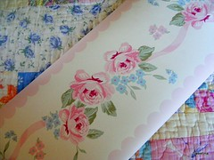 Vintage Wallpaper Border (Sweetina) Tags: pink blue roses wallpaper white green floral vintage treasure gorgeous thrift roll cottagestyle fleamarket shabbychic vintagetreasures sweetina lollishops vintagewallpaperborder
