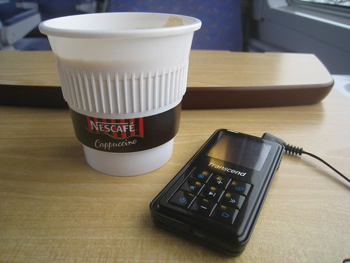 Vital travel supplies - coffee and an mp3 player