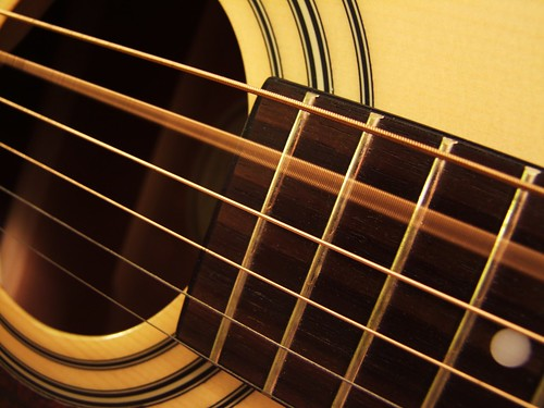 photograph acoustic guitar strings