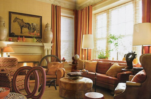 Warm colors + luxe fabric: Living room by Barry Dixon - a photo on ...