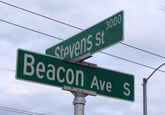 Bright shiny new Beacon Avenue street sign. Photo by Wendi.