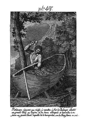 005-Robinson construyendo una canoa de un gran tronco de arbol