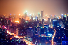 city of blinding lights (marin.tomic) Tags: china city travel light urban color night asian lights hotel nikon asia view skyscrapers shanghai nightshot chinese aerial highrise huge metropolis d40