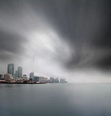 Toronto (Mute*) Tags: city lake toronto ontario fog landscape dawn long exposure cityscape canonef1740mmf4lusm ndfilter vertorama