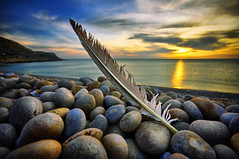 headland (petervanallen) Tags: camera uk blue sunset sea sky orange beach portland landscape coast nikon raw 2000 map shoreline feather pebbles adobe shore dorset tone hdr jurassic chesilbeach chesil sigma1020mm adobecameraraw jurassiccoast d90 tonemapping 3exp hawaalrayyanfav petervanallencom