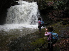 11-Sophie and Iz at Canada Creek Falls Cascade 2