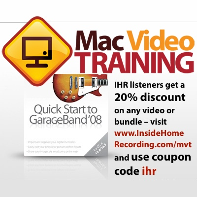 MacVideoTraining.com discount for Inside Home Recording listeners