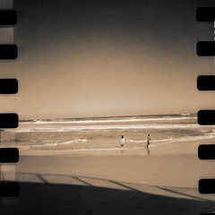 Beach play (borealnz) Tags: sea tlr film beach kids 35mm square sand toned bbf sprocketholes bsquare blackbirdfly wonkyhorizonbutwhocares anditwouldbetoohardtocorrectanyway borealnz