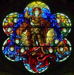 St Michael window, Pontypridd (robin.croft) Tags: church saint dragon victorian stainedglass catherine stmichael archangel stcatherines anglican edwardian pontypridd rct rhonddacynontaff