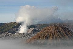 Mount Bromo and neighboring volcanoes. East Java, Indonesia. August 2007.
