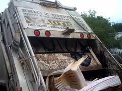 Trash Truck Compacting Junk