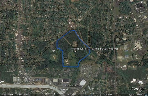 alternative site for new HS in Durham (underlying by Google Earth, boundary by me)