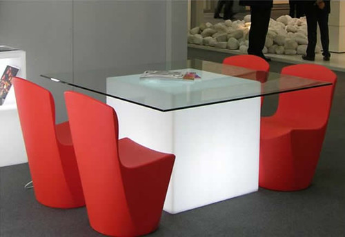 Modern Glass Table With Red Chair