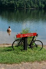 No Swimming (Kristen Viva) Tags: tennessee irony biker fallcreekfalls