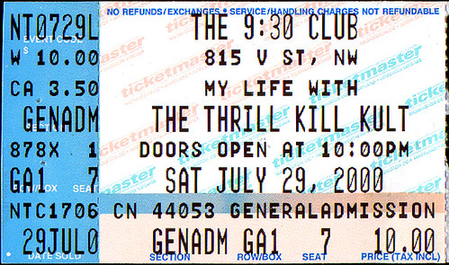 20000729 - My Life With The Thrill Kill Kult, Meg Lee Chin - ticket stub - 930 Club