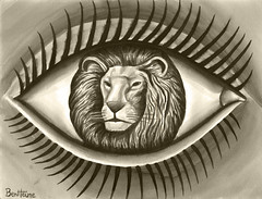 The Lion in Me (Ben Heine) Tags: africa wild cute eye animal sepia illustration painting fur king shadows eyelashes kenya surrealism lion oeil communication illusion jungle noble fourrure bigfive flin highres sauvage froce ecoline pupille cils savane majestueux benheine rugir flid roidelanature cligner