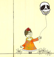 """Frida Celebrates"" (renmeleon) Tags: moon moleskine halloween illustration ink paper pumpkin dayofthedead skeleton sketch drawing balloon journal frida samhain diadelosmuertos fridakahlo ria seaton calacas renmeleon skellie zenseries renfolio"