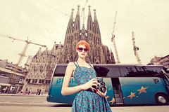 Tourist Friendly (Ibai Acevedo) Tags: barcelona camera city blue red portrait color bus girl sunglasses fashion vintage photo cool spain nikon fiesta dress patatas bcn tourist tapas bullfighter le friendly toros postal sagradafamilia vivi tortilla guiri importacin oleole exportacin siesssta