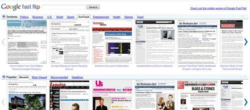 Google Fast Flip News Service