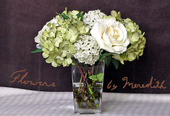 silk flower arrangement hydrangeas green