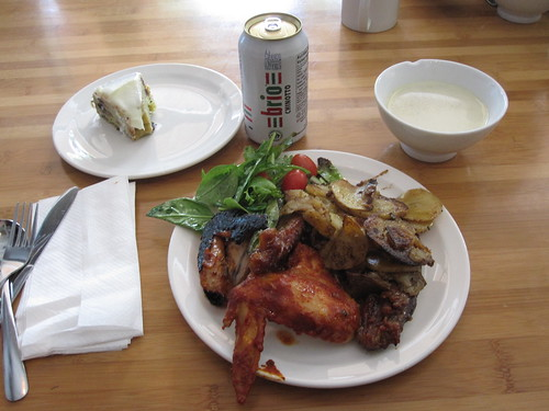 Chicken and duck wings, salad, roasted potatoes, fennel soup, Brio, zucchini and chocolate cake - $0.50