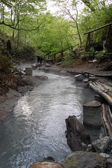 Footbath in Mt. Hiyori....  (Rosanna Leung) Tags: wood people tree japan forest river hokkaido valley   onsen  hotspring footbath  noboribetsu         mthiyori