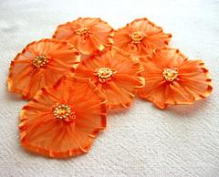 New Style Yo Yo Orange (aysetugrul.) Tags: baby flower girl scrapbooking pumpkin clothing women handmade sewing brooch carrot patch supplies trimming applique yoyo hairpin gamboge