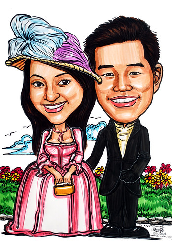 Victorian theme wedding couple caricatures