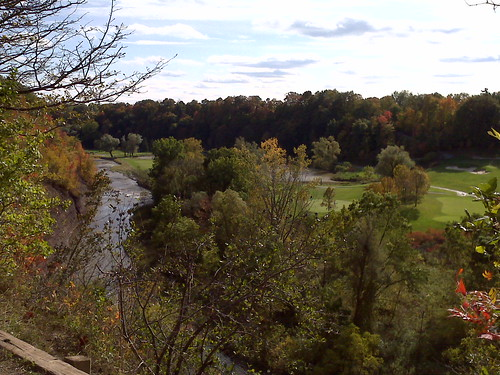 A lookout over the credit river and the Glen Abbey Golf Course.  Beautiful trail system along the river.