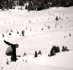 The Grab! (RD Crisp Photography) Tags: bw canada ski jump skiing skiresort snowboard snowboarder banffnationalpark sunshinevillage canadianrockies