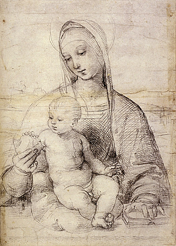 1504  Raphael    The Virgin and Child with a pomegranate, La Vierge et l'enfant avec une grenade  Black Chalk  41,2x29,4 cm  Vienne, Graphische Sammlung Albertina