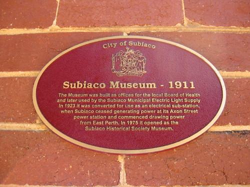 Subiaco Museum Plaque