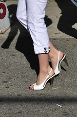 TYPICAL GIRL PURSUED (lkurnarsky) Tags: girls feet fashion women highheels footwear dating barefeet sensuality sexuality womensshoes slingbacks toesnailpolish