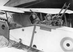 Major Syd Addison and Lieutenant Hudson Fysh in a Bristol Fighter aircraft