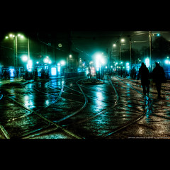 Commuters (u n c o m m o n) Tags: street city urban mist fog night canon reflections gteborg 350d 50mm nocturnal sweden tripod gothenburg cityscapes canon350d sverige toned hdr goteborg lightroom lucisart lucis uncommon longexp labmode photomatix canon350 tonemapped 3exp lusic marcusclaesson messyandsloppyprocessingtothisonemighthavetocomebacktoitlater