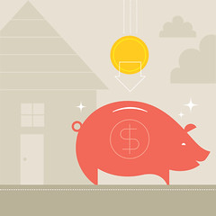 Piggy Bank (Katie Kirk) Tags: house money smiling illustration clouds square piggy happy pig coin save planning newhome tax strength piggybank savings piglet financial vector insurance currency kirk loan banking wealth rainclouds prosperity finance mortgage newlife dollarsign paying coinbank currencysymbol savingforarainyday bringinghomethebacon eighthourday housingcrisis katiekirk financialsecurity
