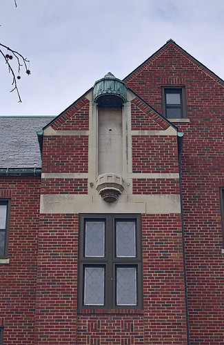 The former Christian Brothers College High School, in Clayton, Missouri, USA - empty niche on building exterior