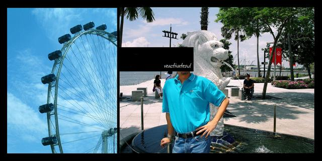 me-with-the-mini-merlion-statue-Singapore-Flyer